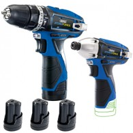 Draper 10.8V Hammer Drill Twin Pack +3 Batteries