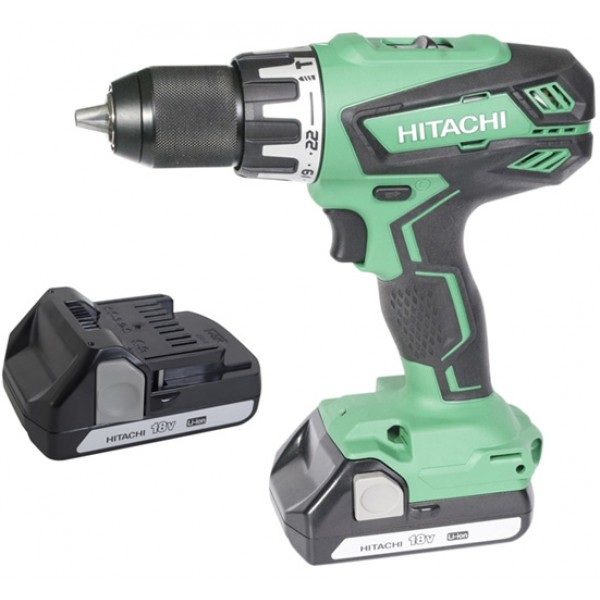 Hitachi 18V Combi Drill With 2 X 1.5Ah Li-Ion Batteries
