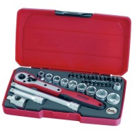 "Teng Tools 34 Piece, 3/8"" Drive, Regular, 6 Point, Socket And Bit Set"