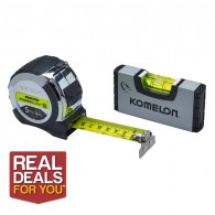 Komelon 5m Tape Measure with Mini Level